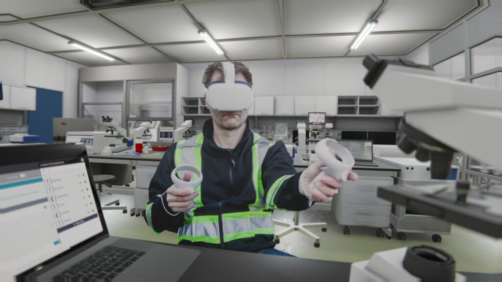 Trainee doing VR Training in a Lab