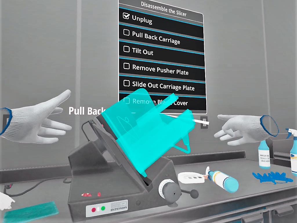 Self-led training in VR through prompts in scenarios.